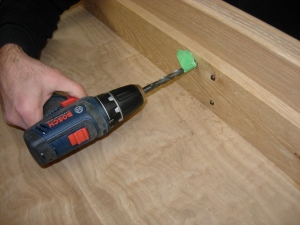 Counter-sinking the holes for the card frame