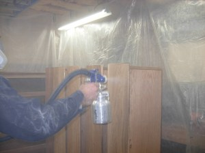 Spraying the drawers