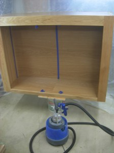 Upper cabinet sprayed