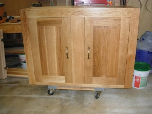 Finished upper cabinet, outside