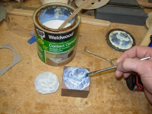 Applying rubber cement