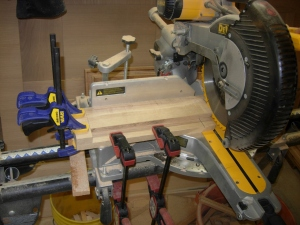 "Cutting all the staves to 14-1/4"" long"