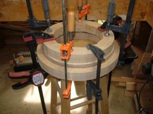 Lower three hoops glued and clamped