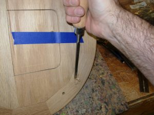 Cutting the mortise in the top