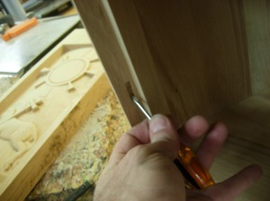 Cleaning the mortise with a little screw driver