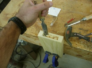 Cleaning Out the pocket with a chisel