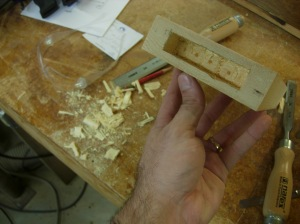 First mortise cut out