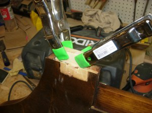 Shim glued and clamped