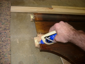 Applying glue to the existing tenons