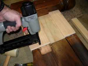 Brad nails to hold the tenons in place while they dry
