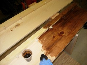 Staining the side rails