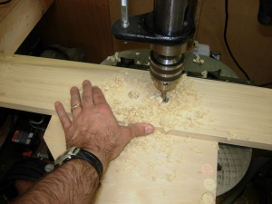 Drilling the double holes in the center