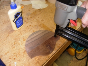 Glueing and nailing the front and middle together