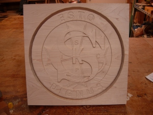 The finished logo plaque