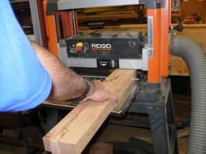 Gang jointing the strips on the planer
