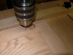Drilling mounting holes on the drill press