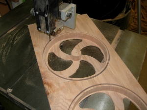 Bandsaw to cut away the rims