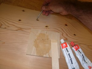 Filling the nail holes on the top half with epoxy