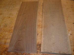The walnut blanks for the top half of the guitar