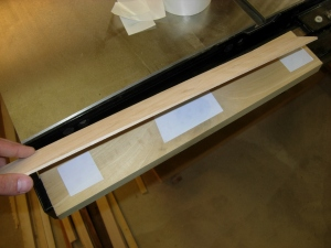 Taping maple veneer to poplar blank