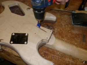 Drilling the body for neck screws