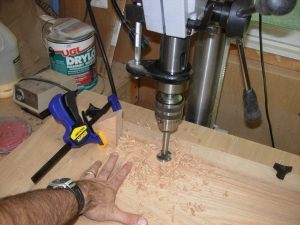 Drilling holes for hinges