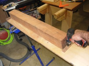 "Setting the 4""X4"" into my planer sled"