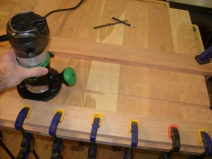 Boards clamped at router's maximum locations