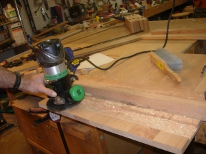 Cutting the tenons on the ends of the verticals