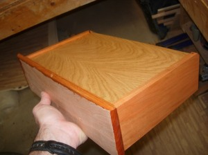 Finishing the bottoms of the drawers first