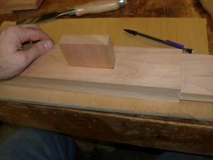 Test fitting a mock-up tenon