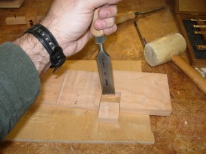 Chopping out the notch with a chisel