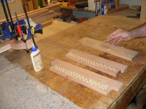 Glueing up the lower base cross-bars