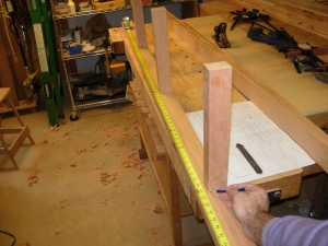 Marking the cross-bar notches in the lower rails