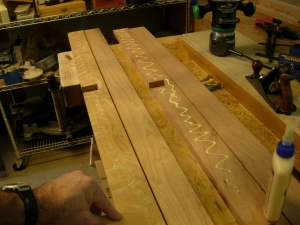 Glueing up the lower rails