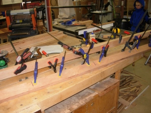 Lower rails clamped up
