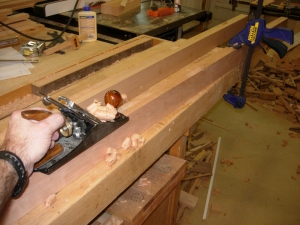 Planing the edges of the lower rails