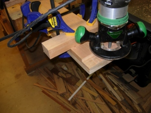 Cutting the tenons on the ends of the lower rails
