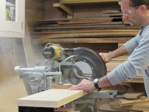 Cutting the plywood to length