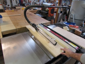 Ripping the plywood to width
