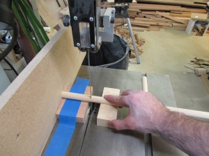 Cutting the dowels to length