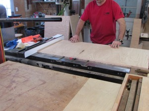 Final sizing on the table saw