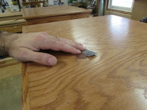 Sanding down the top with 600 grit