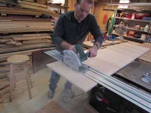 Cutting plywood to length for the counter top