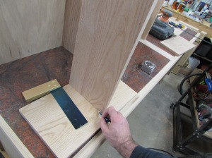 Marking the stopped dado for the shelf
