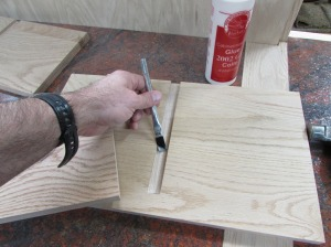 Lining the dados with glue