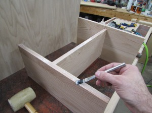 Applying glue to the assembled frame