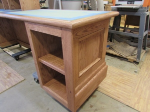 Side and cabinet stained