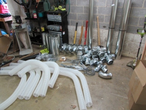 Pile of ducting components