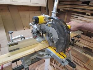 Cutting the cedar to length